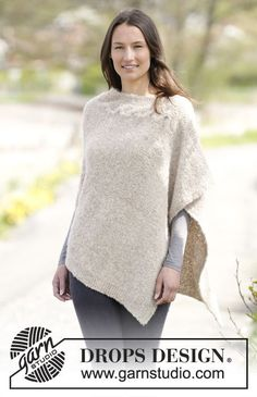 "Knitted DROPS poncho in garter st and stocking st with cable in ""Alpaca Bouclé"". Size S-XXXL. ~ DROPS Design"