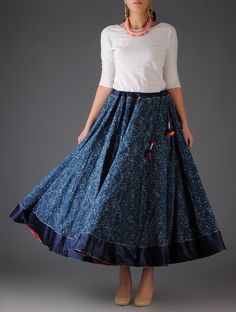 Buy vy Navy Handblock Printed Cotton Skirt Free Size Mushroo Apparel Pants & Skirts Spirit Bright and Cheery Online at Jaypore.com Skirt And Top Outfit, Long Skirt Outfits, The Dress, Dress Outfits, Sari Dress, Modest Outfits, Summer Outfits, Frock Fashion, Indian Fashion Dresses