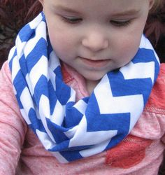 Baby Toddler Child Royal Blue Chevron Infinity loop jersey knit Scarf by ChevronScarf