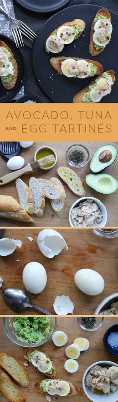 Up your bruschetta game and whip up these delicious tartines layered with avocado, tuna and egg.