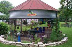 What is grain bin house? It's another anti-mainstream house design you must know! Here we provide the best ideas of grain bin house ideas. Outdoor Rooms, Outdoor Gardens, Outdoor Living, Outdoor Decor, Outdoor Ideas, Gazebo Pergola, Garden Gazebo, Rustic Pergola, Gazebo Ideas