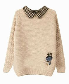 Girl Pattern Embroidery Point Collar Pullover