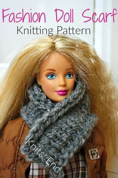 Barbie Clothes and Accessories Knitted Scarf Pattern Easy and Quick