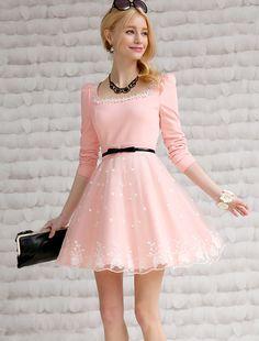 Morpheus Boutique  - Pink Floral Lace Long Sleeve Designer Dress