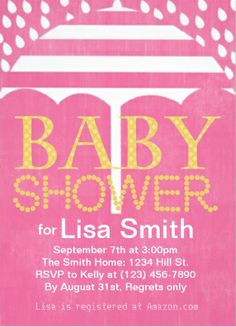 Baby Shower Invitations. Pink Girls Vintage Retro Umbrella Rain Baby Shower  Invitations. Simple To