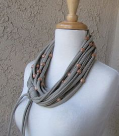 Beaded Taupe Jersey Scarf, Bohemian Style Women's Fashion Loop Tee Shirt Scarf by sandeeknits. $32.00, via Etsy.