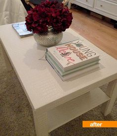 DIY Ikea hack, cover cheap coffee table in faux croc. LOVE!!