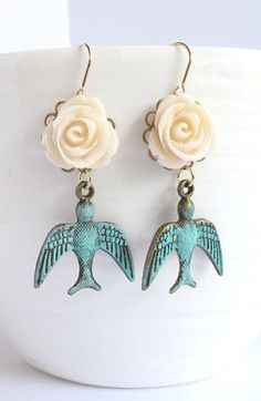 Vintage Inspired Cream Rose with Patina Flying Swallow