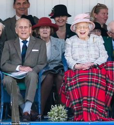 Prince Philip and Queen Elizabeth II at the Braemar Highland Gathering. September 2 2017