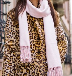 Leopard fake fur coat by Zara & light-pink scarf by ASOS. http://www.thefashionrose.com/2016/12/make-a-statement-this-winter-wearing-a-leopard-coat.html