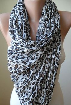 White and Brown Leopard Scarf