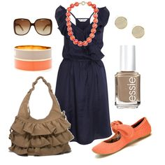 tangerine & navy, created by #htotheb on #polyvore. #fashion #style Miss Selfridge Big Buddha
