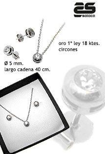 22f18e37e07d Conjunto de oro blanco de 1ª ley de pendientes de oro blanco y cadena y  colgante