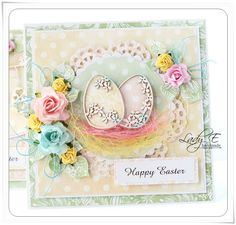 Hi everyone :) Lady E here with some Easter cards :) All papers, chipboards and glitter eggs are available at Scrap & Craft :) Fo. Easter Gift, Easter Crafts, Happy Easter, Card Making Inspiration, Making Ideas, Egg Card, Christian Cards, Easter Greeting Cards, Diy Ostern