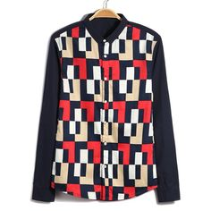 Casual Style Slimming Turn-down Collar Long Sleeves Abstract Print Men's Cotton Shirt on dresslily.com