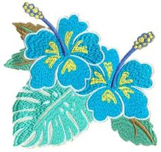Two Hibiscus Blooms with Leaves (HDHI6) Embroidery Design by Anita Goodesign