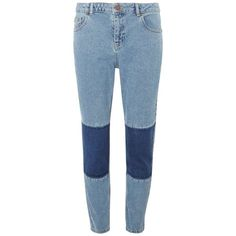 Dorothy Perkins Patchwork Straight-Leg Jeans (62 AED) ❤ liked on Polyvore featuring jeans, pants, blue, dorothy perkins, patchwork jeans, straight leg jeans, blue jeans and straight-leg jeans
