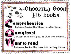 Just right books poster to be hung in your class library or school library...