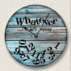 wall clock design 729794314599426366 - WHATEVER I'm late anyway wall clock – distressed teal boards pattern – rustic cabin beach wall home decor Source by callie_holloway Rustic Wall Clocks, Wood Clocks, Antique Clocks, Farmhouse Clocks, Beach Wall Decor, Diy Wall Decor, Wall Clock Decor, Wall Of Clocks, Teal Home Decor