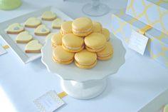 You Are My Sunshine: Lemon macarons sugar heart cookies Lemon Macarons, Macaroons, Fancy Cookies, Heart Cookies, Baby Party, Tea Party, Yellow Party Decorations, Sunshine Cookies, Sunshine Birthday Parties