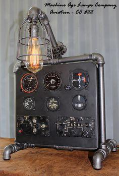 Steampunk Machine Age Aviation Lamp instrument Control Panel Air Plane #CC22