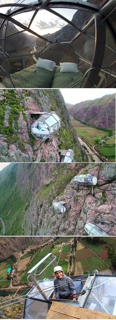 In Peru's Sacred Valley - A Hanging Hotel You Rock Climb Up to and Zip-line Down From