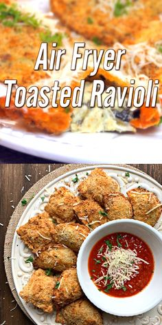"""AIR FRYER TOASTED RAVIOLI Toasted Ravioli done light in your air fryer. One of our favorite appetizers, made with store purchased ravioli filled with meat, cheese, or both, air """"fried"""" and served with marinara sauce and a dusting of parmesan cheese. Air Fryer Oven Recipes, Air Frier Recipes, Air Fryer Dinner Recipes, Easy Dinner Recipes, Easy Meals, Easy Recipes, Air Fryer Recipes Gluten Free, Air Fryer Recipes Videos, Air Fryer Recipes Vegetarian"""