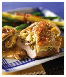 OMG! Mother's Day is just around the corner. What a tasty treat ;-) hint hint: Artichoke and Mushroom Stuffed Chicken Breasts
