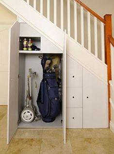 Under Stair Storage Design Ideas - Home Design and Decor Ideas Staircase Storage, Hallway Storage, Attic Storage, Cupboard Storage, Staircase Design, Closet Storage, Storage Spaces, Modern Staircase, Storage Cabinets