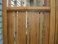 I copied this craftsman style cedar fence from one similar to it in my neighborhood. I created four sections of it: two six foo. Building A Wooden Gate, Building A Fence, Wooden Gates, Diy Fence, Fence Gate, Fence Ideas, Fences, Bungalow Renovation, Fence Styles