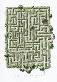 A random encounter - Hedgerow Maze by SirInkman on DeviantArt Rpg Minecraft, Minecraft Blueprints, Minecraft Designs, Fantasy City, Fantasy Map, Medieval Fantasy, Pen & Paper, Paper Craft, Rpg Map