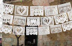 Mexican bridal white flags