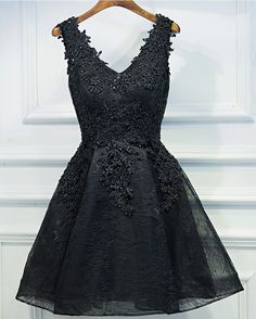 Sexy Black Short Prom Dress, Black Lace Prom