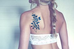 Wedding Ring Tattoos Blue floral shoulder tattoo - Product Information Product Type: Tattoo Sheet Tattoo Sheet Size: Tattoo Application Tattoo Girls, Back Tattoo Women, Tattoos For Women Small, Girl Tattoos, Tattoos For Guys, Great Tattoos, Trendy Tattoos, Beautiful Back Tattoos, Tattoo Fleur