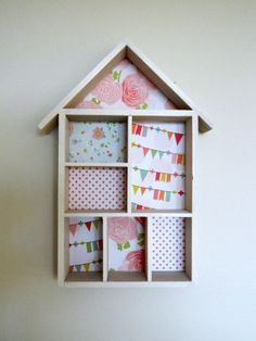 House-shaped wooden shelf - Wall hanging or freestanding - Home decor -  Decorated with vintage inspired papers