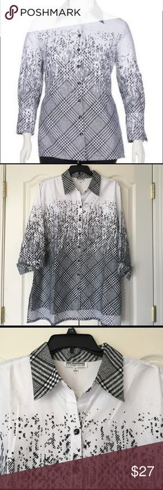 Reserved for sandismalw Black and white button up shirt. mishca Tops Button Down Shirts