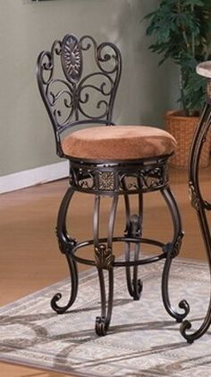 """Set of 2 brown pattern fabric seat swivel bar stools with fabric upholstered seats 29"""" Seat height"""