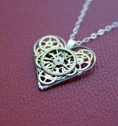 Mechanical Heart Necklace Kjærlighet Elegant by amechanicalmind, $80.00
