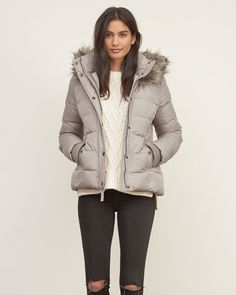 Womens A&F Premium Puffer Jacket | Designed for warmth and comfort, this premium puffer jacket is lined with cozy fleece, made from water resistant fabrication, featuring rib storm cuffs, removable faux-fur and a snap and zipper closure | Abercrombie.com