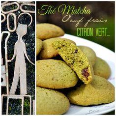 Cookies au Thé Matcha, citron vert et fraises déshydratées