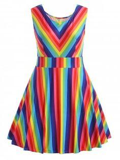 Amlaiworld Women Summer Dresses Women's Vintage Plus Size Rainbow Printed Sleeveless A-Line Camis Mini Dress (XL Multicolor) Casual Dresses, Fashion Dresses, Summer Dresses, Party Dresses, Women's Dresses, Cheap Dresses, Plus Size Dresses, Plus Size Outfits, Rajputi Dress