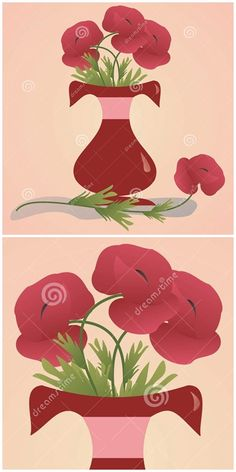 Illustration about Red flower vase with poppy flowers. Illustration of design, botanical, flower - 51916202 Poppy Flowers, Mothersday Cards, Flower Vases, Poppies, Rooster, Illustration Art, Holiday, Gifts, Vector Art