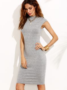 Shop Grey High Neck Cap Sleeve Sheath Dress online. SheIn offers Grey High Neck Cap Sleeve Sheath Dress & more to fit your fashionable needs.