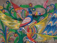 BARK PAINTING OF TWO PEACOCKS, AMATE. MEXICAN FOLK ART. - Images hosted at BiggerBids.com