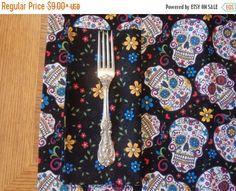 SALE Sugar Skulls Table Linens  Table Cloth Napkins by BaysideBarb