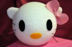 Hello Kitty Themed Party  Styrofoam ball + felt pieces = centerpiece  from: diyinspired.com
