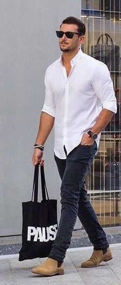 What To Wear With A White Shirt - Men's Outfit Ideas For Dressing With Style mens jeans 7 Ways To Wear A White Shirt - A Men's Style Guide [With Photos White Shirt Outfits, White Shirt Men, White Shirts For Men, Mens White Outfit, Mens White Jeans, Black Shirt Outfit Men, Cool Shirts For Men, Chinos Men Outfit, Look Fashion