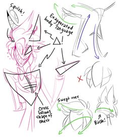 Drawing Tutorials image sharp exaggerated style art - How do you draw Alastor so well?Allow me to offer you some really quick, sketchy doodles of what I like to keep in mind when I doodle our totally lovable radio. Drawing Tutorials, Drawing Tips, Art Tutorials, Cartoon Drawings, Art Drawings, H Hotel, Vivziepop Hazbin Hotel, Art Inspiration Drawing, Angel Dust