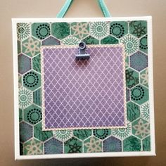 White Stretched Canvas 8X8 purple/turquoise/hexagon design