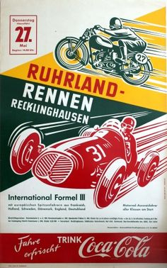Ruhrland Rennen Car Motorcycle Race, 1954 - original vintage poster by Julius Rottger listed on AntikBar.co.uk